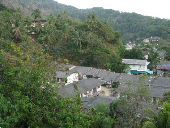 Villareal Heights: uitzich vanuit premium deluxe kamer, kijk niet naar beneden ;-)