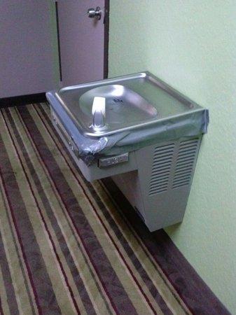 Days Inn Sarasota - Siesta Key: Convenient Hallway Water Fountains full of DUCT TAPE.