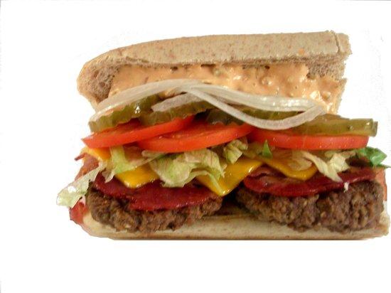 Green Dot Subshop: Check out our Bacon Cheeseburger Sub! Yum Factor 10!