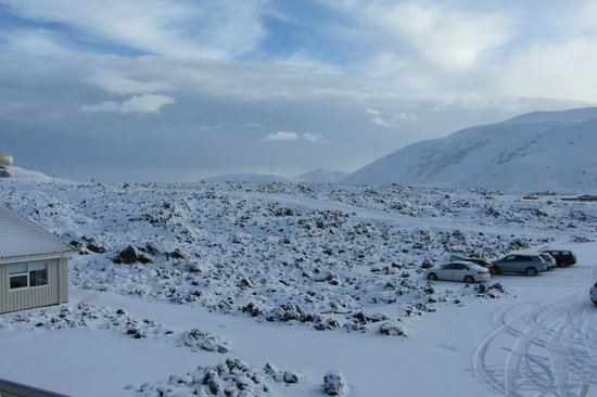 Northern Light Inn : View across the snow covered lava fields from the hotel