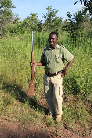 Walking with Lions at Victoria Falls: Rambo, our guard