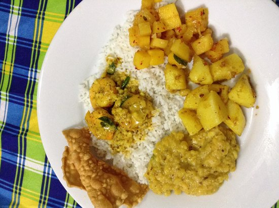 Rohans Place: Prawn curry, dhal, potato curry, pineapple curry.