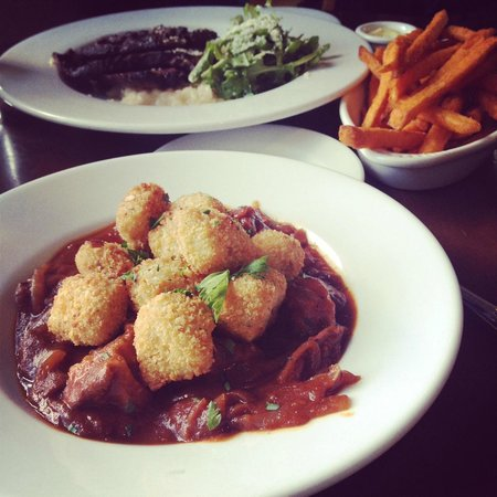 Bistro Tupaz: Pork ghoulash, tri-tip w/risotto, and sweet potato fries.