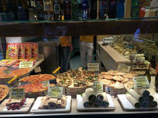happy pizza shop window