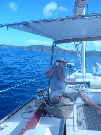 Morningstar Sailing and Power Charters : Captain Mike sounding the call for lunch