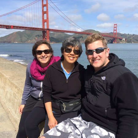 Streets of San Francisco Bike Tours : Tour guide Beebe on far left - short break to enjoy the gorgeous view of the GG bridge!