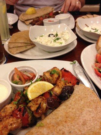 Cyma: Chicken souvlaki, tzatziki dip & lamb souvlaki