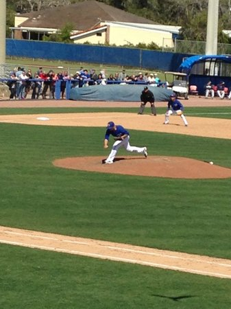 Florida Auto Exchange Stadium - Dunedin Blue Jays: Not a great view past the ball diamond but sure nice on the pitchers mound
