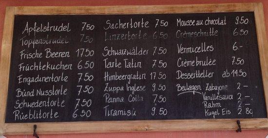 Restaurant Roseg Gletscher: List of desserts