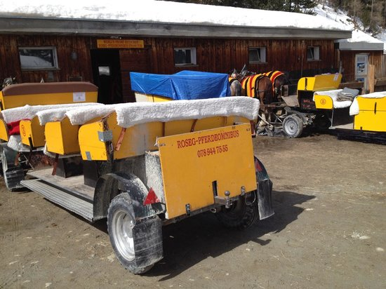 Restaurant Roseg Gletscher: Horse carriages waiting for you 2
