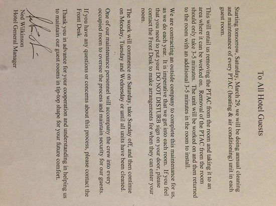 La Quinta Inn & Suites Salt Lake City Airport: Letter saying the PTAC Units will be cleaned annualy
