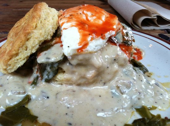 Pine State Biscuits: Egg over easy with braised greens doused with Texas Pete Hot Sauce