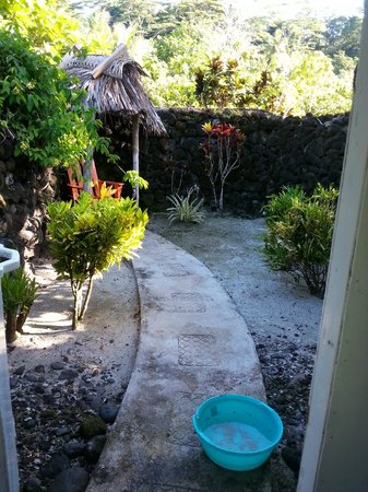 Stevenson's at Manase: Entrance to shower in private back yard of Fale. Outdoors.