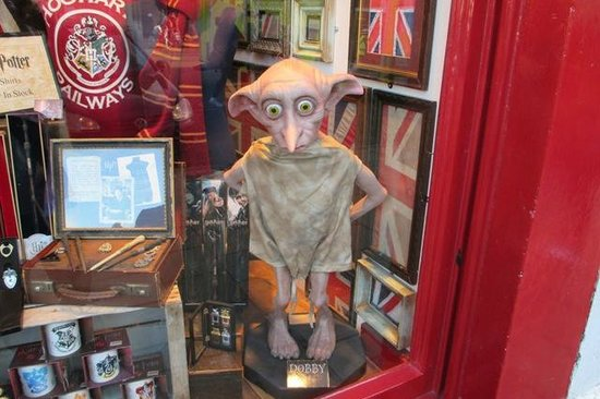 Golden Tours: Dobby at a shop's display in Oxford.