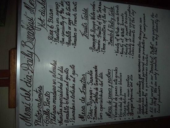 Hotel Aranjuez: Breakfast menu