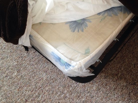 Albany Lodge: Plastic on their mattresses!