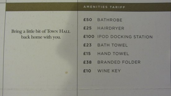 Town Hall Hotel: Price list of the things you can buy.