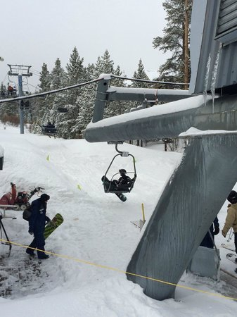 BlueSky Breckenridge: My son headed up Snowflake lift right out the back door of the condo facility