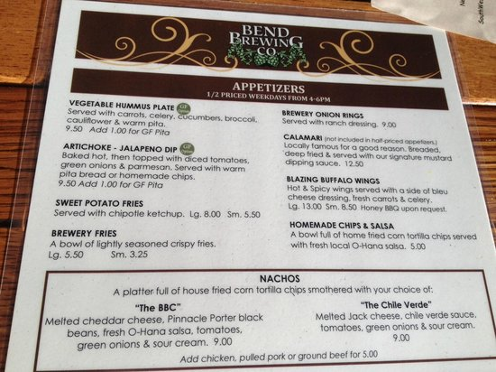 Bend Brewing Co: BBC Menu