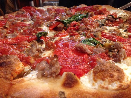 Grimaldi's : Italian sausage, mushroom, and roasted peppers.