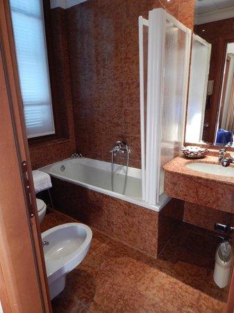 "Hotel Ponte Sisto : The bathroom - unusual ""screen"" instead of a curtain"