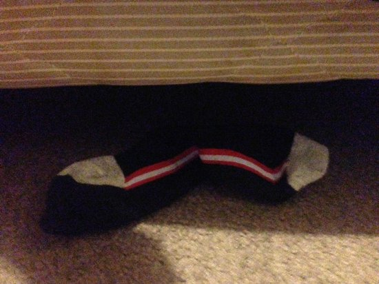 Riccarton mall motel: Someone else's socks at the foot of my bed
