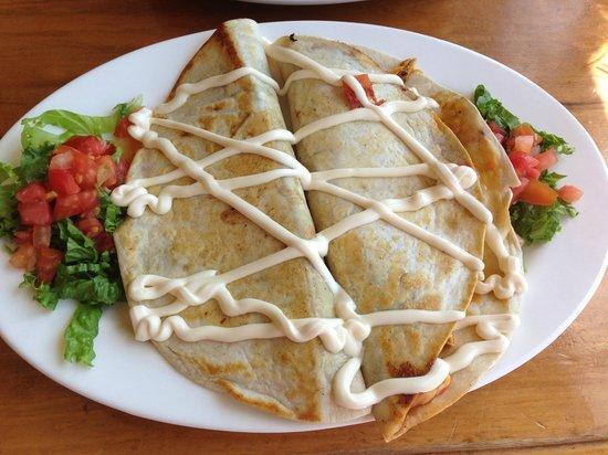 Bar Amigos: Chicken Quesadillas with sour cream