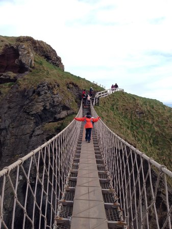 Carrick-A-Rede Rope Bridge: The short but heart raising walk. That's my 9 year old crossing on his own. You can see that it'