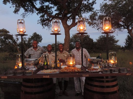 "andBeyond Ngala Safari Lodge: Surpise champagne ""Sundowner"" in the middle of the bush..."