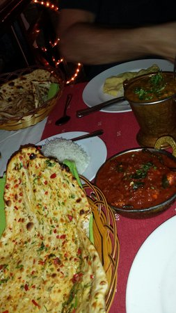 Ganesh Indian Restaurant : Nice Ganesh special bread, chicken madras and lamb lentil curry