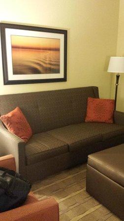 Hampton Inn & Suites Tifton: Sofa in lounge area of suite