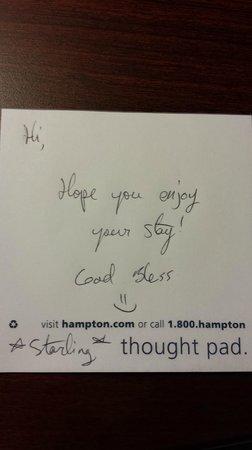 Hampton Inn & Suites Tifton : Housekeeping left a note