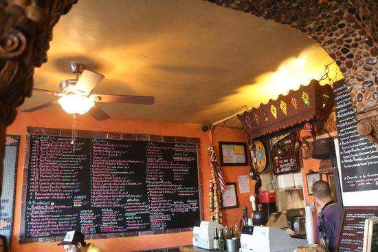The menu at El Zarape