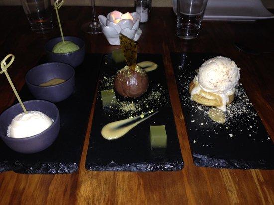 Cheyne's: Dessert - ice cream (L), chocolate mousse (C), banana brioche (R)