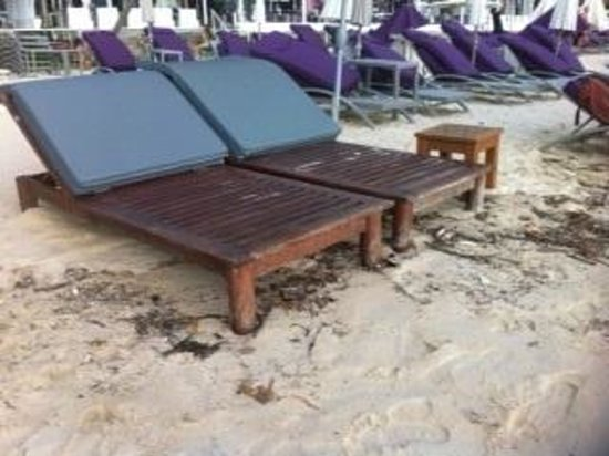 Surin Sweet Hotel: Nice cluster of cigs and trash under beach chairs