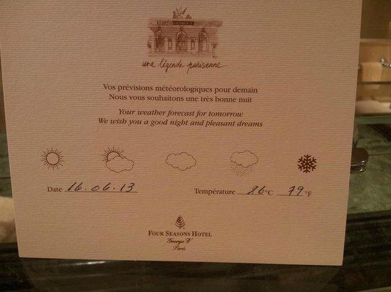 Four Seasons Hotel George V Paris: Карточка с информацией о погоде на следующий день