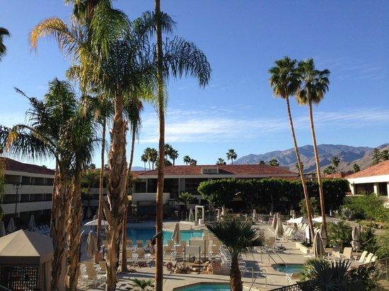 Hilton Palm Springs: Blick vom Balkon auf den Pool