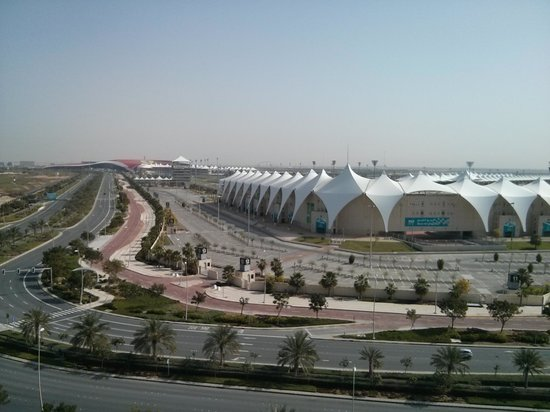 Yas Island Rotana: view of F1 track.Ferrari world in distant view