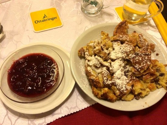 Schnitzelwirt : The Kaiserschmarren - kind of like a funnel cake with this amazing fruit spread