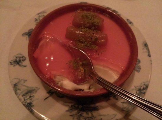 Marcel's: Rhubarb pannacotta. Historic!
