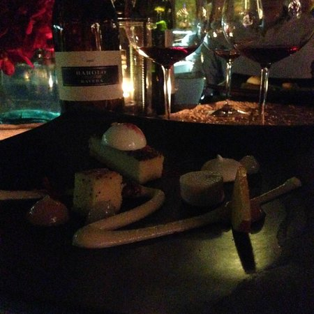 "The Boathouse Wine & Grill: Dessert - White peach custard, anise ""sabayon"", pecan, aerated poppy seed   cake, meringue and c"