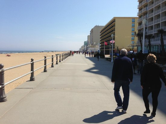 Virginia Beach Boardwalk: The buildings offer shade in the summer