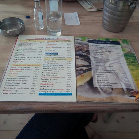 Ithaki : Beware that there are two menus with vastly different prices. $2-4€ cheaper on the Greek menu fo