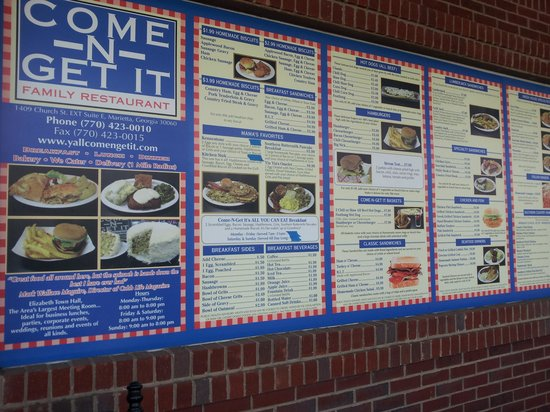 Come-N-Get It Family Restaurant : Come-N-Get It Menu
