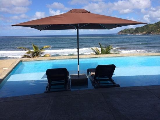 Pagua Bay House Oceanfront Cabanas : the view from the restauarnt/pool area