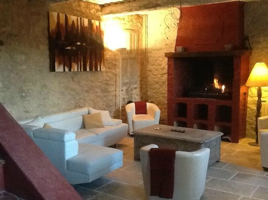 Le Mas des Arts : salon avec cheminée