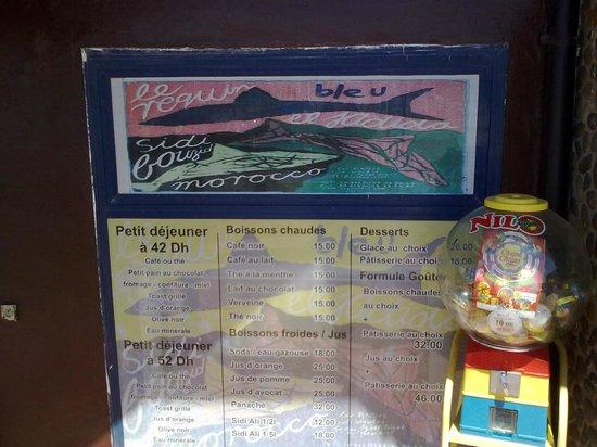 Requin Bleu : Café menu