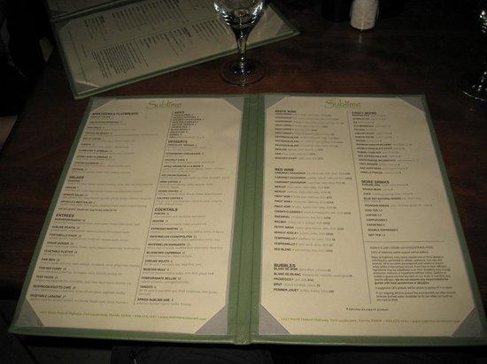 Sublime Restaurant & Bar : The menu