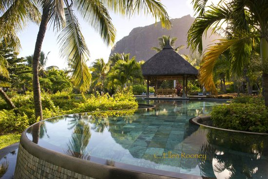 LUX* Le Morne : The pool at sunrise