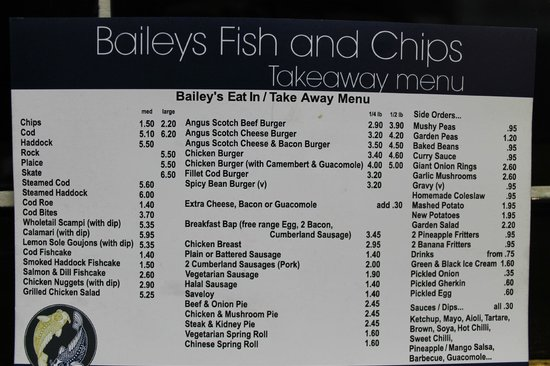 Baileys Fish and Chips: Menù